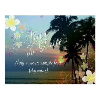 PixDezines/save date/hula dream/hawaii sunset Postcard
