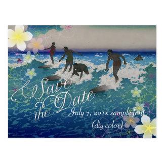 PixDezines/save date/hula dream/vintage surfers Postcard