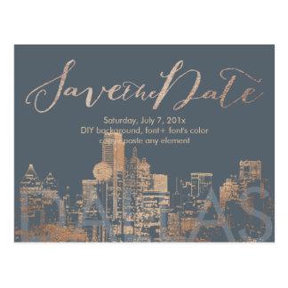 PixDezines/Save Date/Pink Gold/Dallas Skyline Postcard