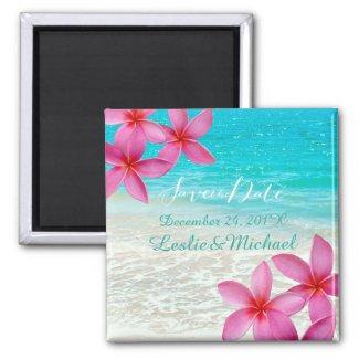 PixDezines Save Date/pink plumeria/beach Magnet