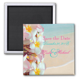 PixDezines Save Date, Pink Plumeria Lei+Beach 2 Inch Square Magnet