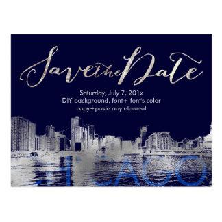 PixDezines/Save Date/Silver/Chicago Lakeshore Postcard