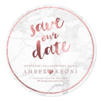 PixDezines Save the Date Faux Rose Gold+Marble Card