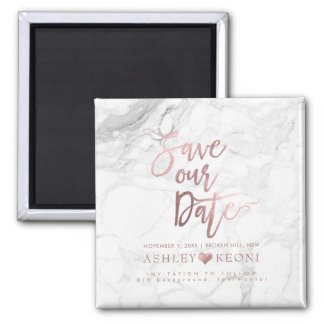 PixDezines Save the Date/Faux Rose Gold Marble Magnet