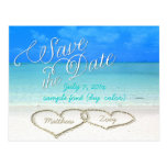 PixDezines/save the date/hearts/sand Postcard