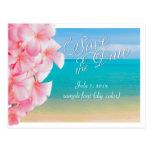 PixDezines/save the date/pink plumeria+beach Postcard