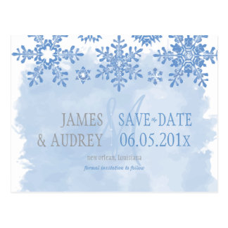 PixDezines/save the date/snowflakes Postcard