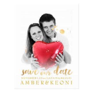 PixDezines Save the Date/Stylish Faux Gold Script Postcard