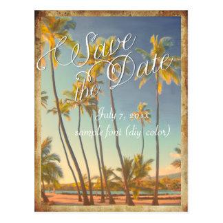 PixDezines/save the date/vintage hawaii Postcard