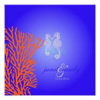 PixDezines Seahorse coral/ cobalt blue Custom Invitations