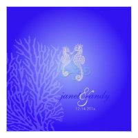 PixDezines Seahorse coral/ cobalt blue Invitation