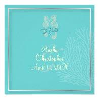 PixDezines Seahorse coral Wedding/diy color Announcement
