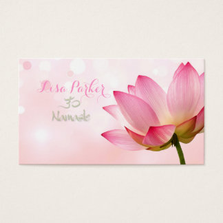 PixDezines serenity pink lotus, Om yoga, healers Business Card