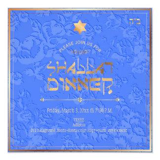 PixDezines Shabbat Dinner/Cornflower Blue Damask Card
