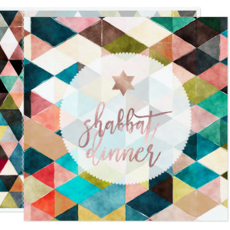 PixDezines Shabbat Watercolor Geometric Triangles Card