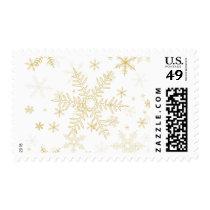 PixDezines Snowflake Winter, gold tone Postage