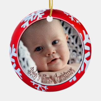 PixDezines Snowflakes Baby's First Christmas Double-Sided Ceramic Round Christmas Ornament