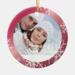 PixDezines Snowflakes Photo Template White + Red Christmas Ornaments