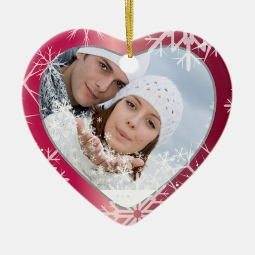 PixDezines Snowflakes Photo Template White + Red Double-Sided Heart Ceramic Christmas Ornament