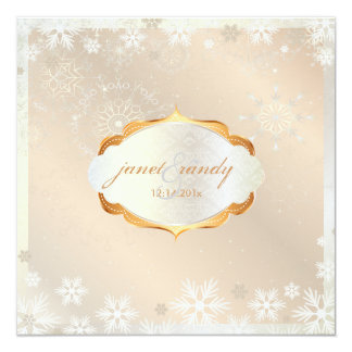 PixDezines Snowflakes, pink champagne on ice 5.25x5.25 Square Paper Invitation Card