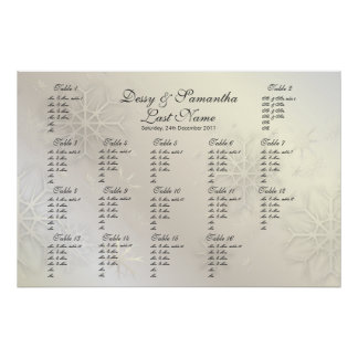 PixDezines Snowflakes, seating chart by Table #s Poster