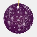 PixDezines Snowflakes White + Plum Christmas Ornament