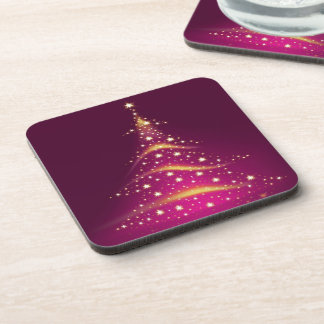 PixDezines Sparkling Christmas Tree/hot pink Coaster
