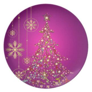 PixDezines Sparkling+Whimsy Christmas Trees/magent Dinner Plate