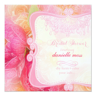 PixDezines spring bouquet+chadelier/bridal shower 5.25x5.25 Square Paper Invitation Card