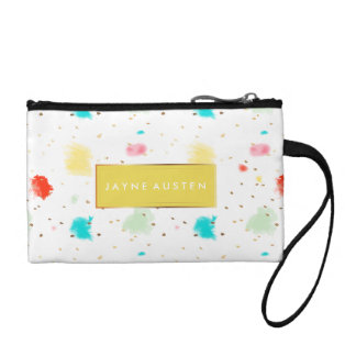 PixDezines Sprinkles Watercolor/DIY background Coin Wallet