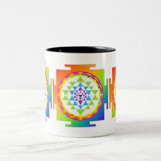 PixDezines Sri Yantra Chakra Clearing/DIY bckgrnd Two-Tone Coffee Mug