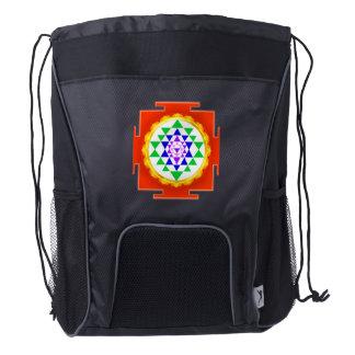 PixDezines Sri Yantra Chakra Clearing/Orange Glow Drawstring Backpack