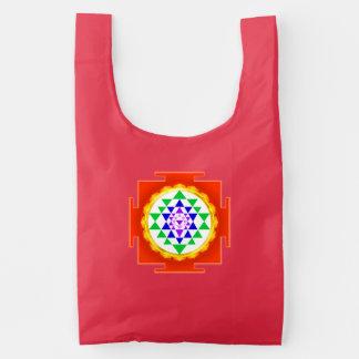 PixDezines Sri Yantra Chakra Clearing/Orange Glow Reusable Bag