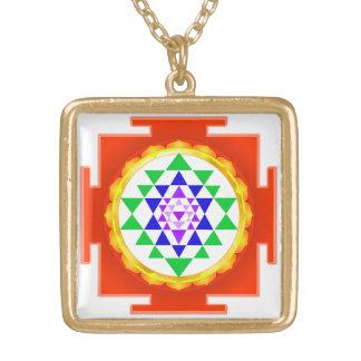 PixDezines Sri Yantra Chakra Clearing/Orange Glow Square Pendant Necklace