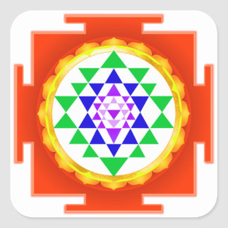 PixDezines Sri Yantra Chakra Clearing/Orange Glow Square Sticker