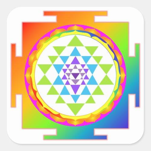 PixDezines Sri YantraChakra ClearingRainbow Square Sticker