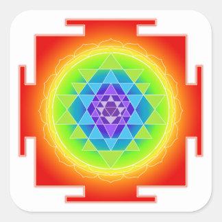 PixDezines Sri Yantra/Chakra/Meditation/Rainbow Square Sticker