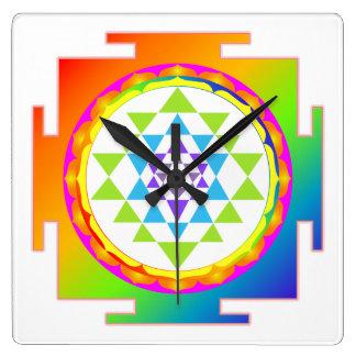 PixDezines Sri Yantra/Chakra/Rainbow Square Wall Clock