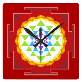 PixDezines Sri Yantra/Chakra Square Wall Clock