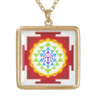 PixDezines Sri Yantra /Rainbow/Chakra Clearing Gold Plated Necklace
