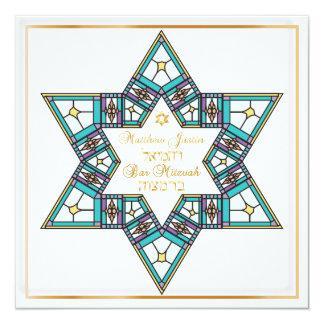 PixDezines Stainedglass star/ Bar Mitzvah Card