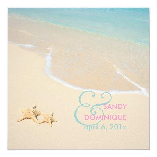 PixDezines Starfish + beach/tropical wedding Card
