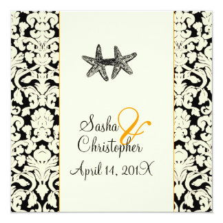 PixDezines starfish+damask/diy colors Card
