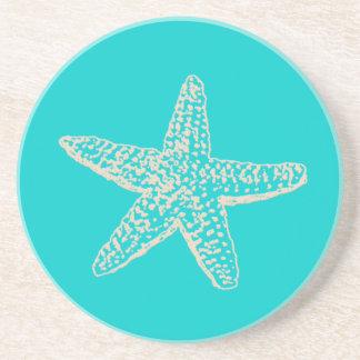 PixDezines Starfish/natural+blue Drink Coaster