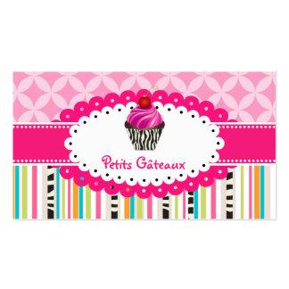 PixDezines strawberry swirls cupcake+stripes Business Cards