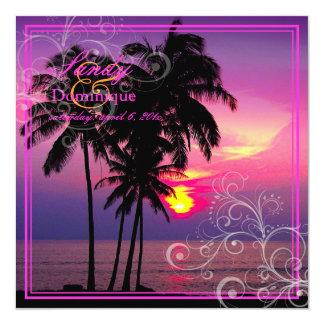PixDezines Sunset at A-Bay+Swirls/tropical wedding Personalized Invitations