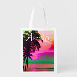 PixDezines sunset at hawaiian beach Grocery Bags