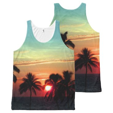 Beach Themed PixDezines sunset at mauna kea beach DIY text All-Over-Print Tank Top