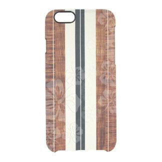 PixDezines Surf Board/Hibiscus/Faux Koa Clear iPhone 6/6S Case