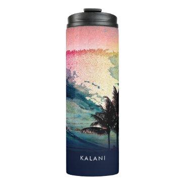 Beach Themed PixDezines Surfs Up Hawaiian Beach/Pink/Green Thermal Tumbler